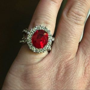 Gorgeous Tibetan Silver and Red CZ Ring